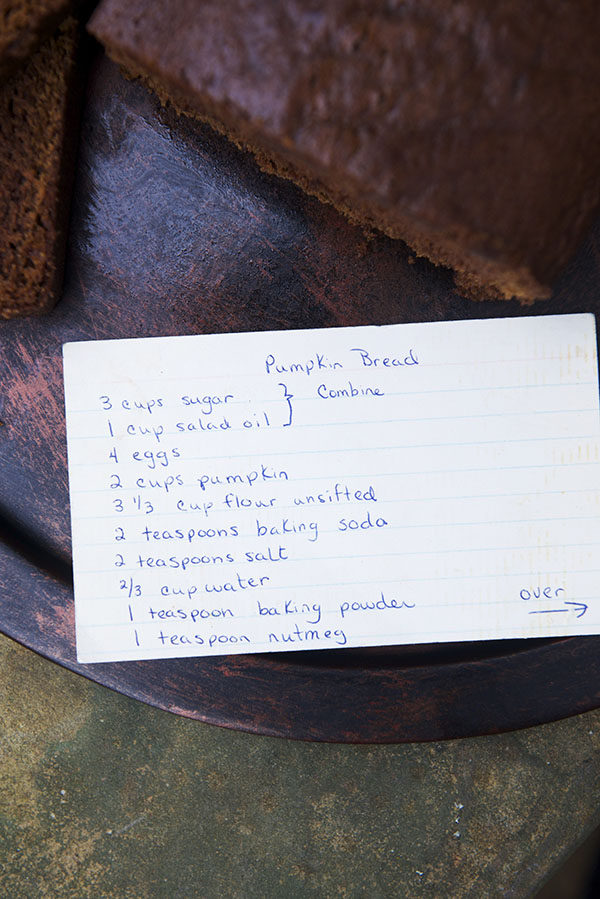 Aunt Rose's Pumpkin Bread Recipe Card