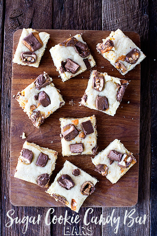 Sugar Cookie Candy Bar Bars from theaboutwhatblog.com
